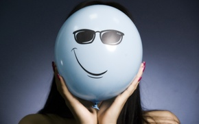 Picture girl, smile, glasses, a balloon