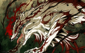 Picture blood, monster, anime, mouth, fangs