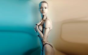 Wallpaper mechanism, girl, robot, body