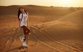 Picture look, girl, sunset, sexy, smile, desert, legs, photographer, face, Eugene Nadein
