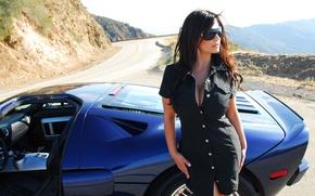Picture road, auto, girl, Ford, Girls, dress, brunette, glasses