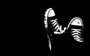 Picture black and white, shoes, sneakers, minimalism, black background, laces