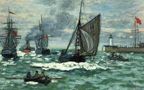 Picture sea, boat, lighthouse, ship, picture, sail, seascape, Claude Monet, The entrance to the Port of ...