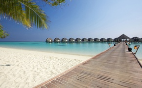 Picture sand, sea, beach, the sky, Palma, lights, houses, the bridge, Bungalow