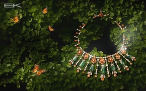 Picture greens, leaves, butterfly, stones, decoration, necklace, jewel, jewelry