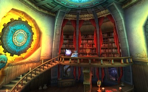 Picture books, ladder, portals, candles, portals, library, art, magic, books, stairs, art, elf, candles, Fantasy, library, ...