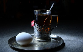 Picture BACKGROUND, PATTERNS, EGG, MACRO, FOOD, GLASS, TRAY, SILVER, Cup HOLDER, WELDING, SPOON, BAG, TEA