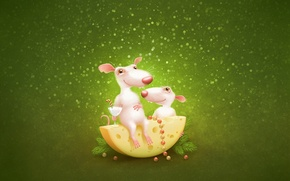 Wallpaper Mouse, cheese, green, rats