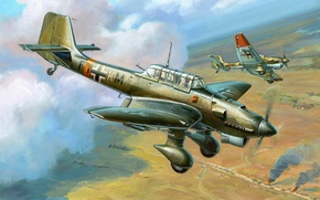 Wallpaper the plane, figure, thing, dive bomber, Junkers, Dive bomber, Air force, Luftwaffe, Ju 87, Junkers, ...