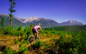 Picture girl, nature, sport, mountain bike, cyclist, pink dress