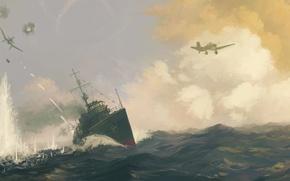 Picture sea, war, ship, aircraft