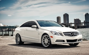 Picture coupe, skyscrapers, mercedes benz E-Class Coupe