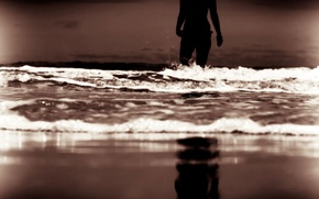 Picture sea, wave, beach, the sky, water, girl, background, stay, widescreen, Wallpaper, mood, woman, wave, the ...