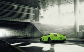 Picture tuning, green, Nissan, nissan gt-r