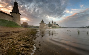 Picture autumn, dawn, morning, Russia, Pskov