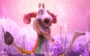Picture cinema, Ice Age, wallpaper, horns, legs, smile, pink, cartoon, movie, funny, crystal, film, called, elder, ...