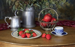 Picture green, silver, metal, flowers, apples, basket, strawberries, Still Life, beer mugs