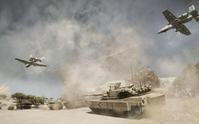 Picture the explosion, war, desert, smoke, tank, aircraft, bad company 2