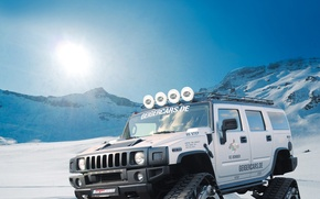 Wallpaper mountains, tuning, Bomber, GeigerCars, caterpillar, SUV, Hummer
