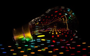 Picture light, rainbow, colours, reflection, lamp, bulb, filament