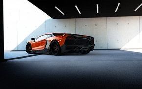 Picture red, background, tuning, Lamborghini, supercar, rear view, tuning, Corsa, Lamborghini, Aventador, Aventador, Limited Edition, RENM