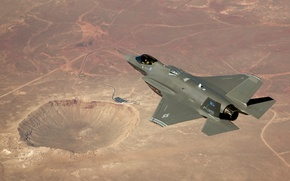 Picture desert, crater, Lockheed Martin, F-35A, istrebitelej, USA, test flight