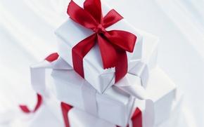 Wallpaper gifts, holiday, ribbon, red, bow, box