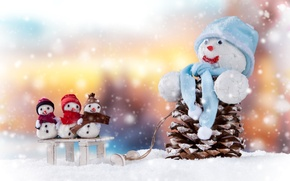 Picture Snow, New year, Bumps, Holidays, Snowmen, Caps