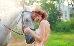Picture summer, girl, face, smile, background, hair, horse