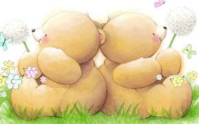 Picture summer, mood, dandelion, butterfly, art, bear, children's, Forever Friends Deckchair bear