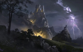 Picture mountains, night, clouds, stones, castle, tree, lightning, wolf, tower
