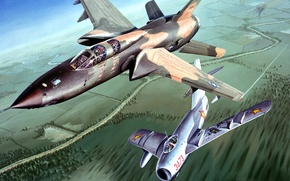 Picture figure, art, Vietnam, UNITED STATES AIR FORCE, fighter-bomber, Republic, The MiG-17, F-105, Thunderchief
