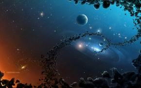 Picture rocks, planets, galaxies, asteroids, Sci Fi, black hole