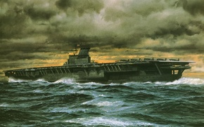 Picture ship, art, the carrier, Navy, military, Japanese, WW2, aircraft carrier, IJN, Shinano