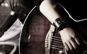 Picture hand, jeans, strings, Guitar, bracelet