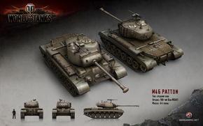 Picture tank, USA, USA, America, tanks, render, WoT, World of Tanks, Wargaming.net, M46 Patton