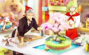 Wallpaper cake, bear, art, hakusai, guys, anime, tree, girls, kitchen
