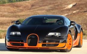 Picture supercar, Bugatti Veyron, black, Super Sport, orange, hypercar, 16.4, quick