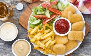 Wallpaper free, sauce, potatoes, vegetables, chicken, salad
