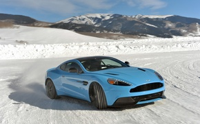 Picture ice, Aston Martin, drift, V12, Vanquish