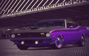 Picture Purple, 1970, 340, Plymouth, Six, Cuda, AAR, Gran Turismo 6, Barrel