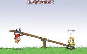 Wallpaper children, Wulffmorgenthaler, swing, Humor