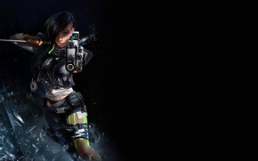 Picture look, glass, fragments, weapons, Girl, sword, katana, Girl, gun, cyberpunk, cyberpunk