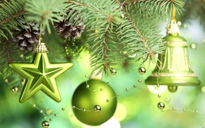 Picture stars, decoration, tree, New year, new year, stars, merry christmas, Merry Christmas, bell, green balls, ...
