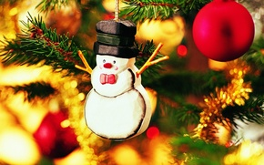 Wallpaper snowman, new year, Christmas background, toy on the Christmas tree