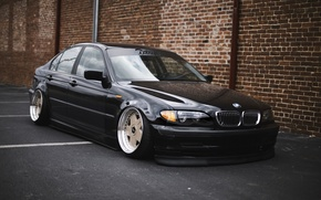 Picture bmw, black, tuning, germany, low, stance, e46