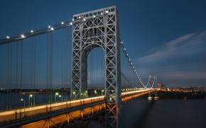 Wallpaper night, the city, river, New York, The George Washington Bridge
