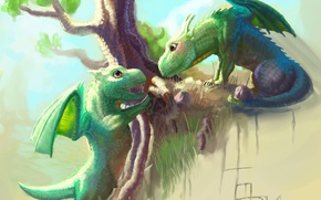 Picture tree, the game, dragons, hill, art, kids, cubs