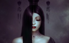 Picture girl, decoration, eyelashes, hair, art, hairstyle, characters, Neville Dsouza