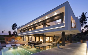 Picture lights, Villa, the evening, pool
